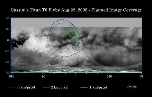Planned Image Coverage of Titan Flyby